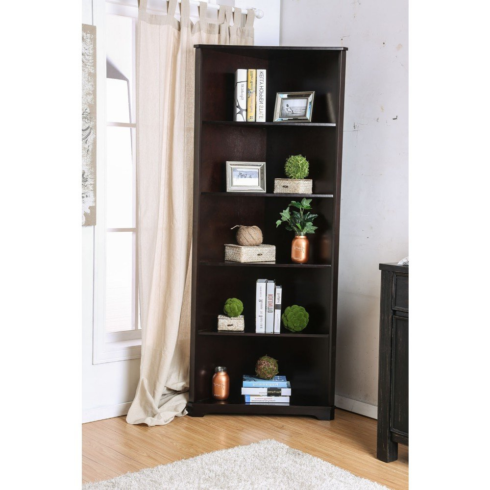 Recent Minner 5 Shelf Corner Unit Bookcase Regarding Fuhrmann Corner Bookcases (View 18 of 20)