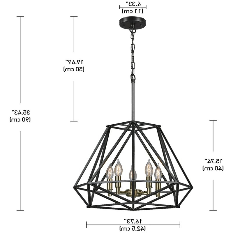 Recent Tabit 5 Light Geometric Chandelier With Tabit 5 Light Geometric Chandeliers (View 3 of 25)