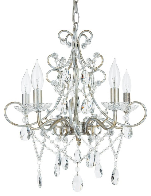 Recent Theresa 5 Light Wrought Iron Crystal Chandelier, Silver With Thresa 5 Light Shaded Chandeliers (View 6 of 25)