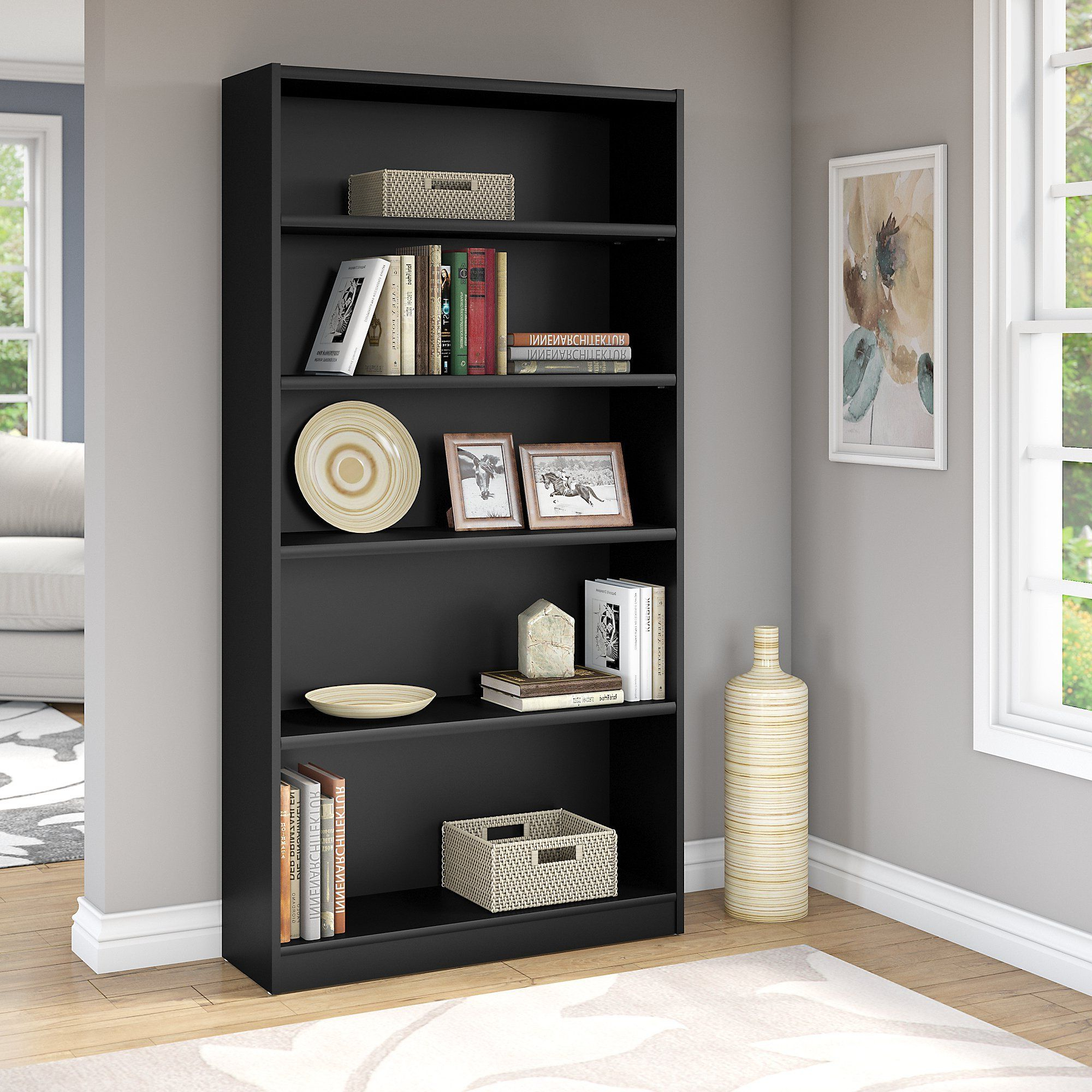 Recent Universal 5 Shelf Bookcase In Classic Black ** You Can Find With Regard To Abigail Standard Bookcases (View 18 of 20)
