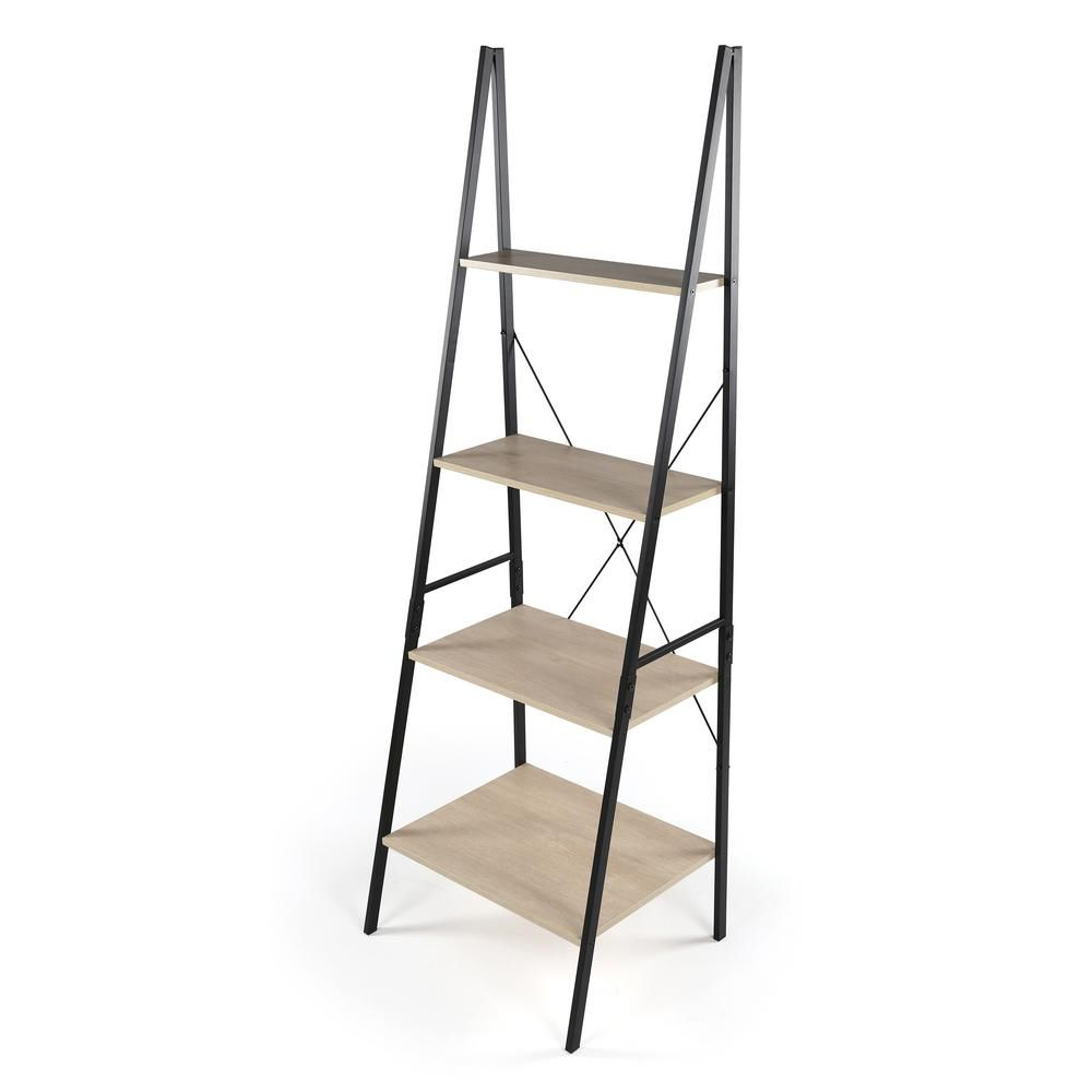 Rech 4 Tier Etagere Bookcases With Latest Good Jupiter Black And Grey 4 Tier Storage Ladder/tower (View 15 of 20)