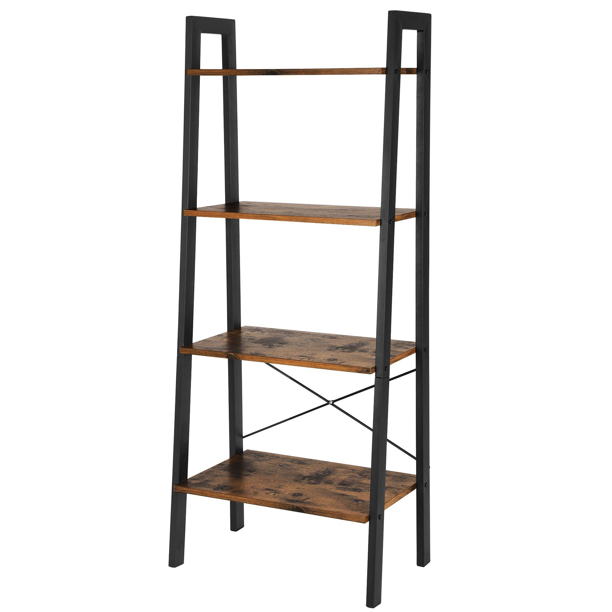 Rech 4 Tier Etagere Bookcases Within Most Up To Date Vasagle Industrial Ladder Shelf, 4 Tier Bookshelf, Storage (View 17 of 20)