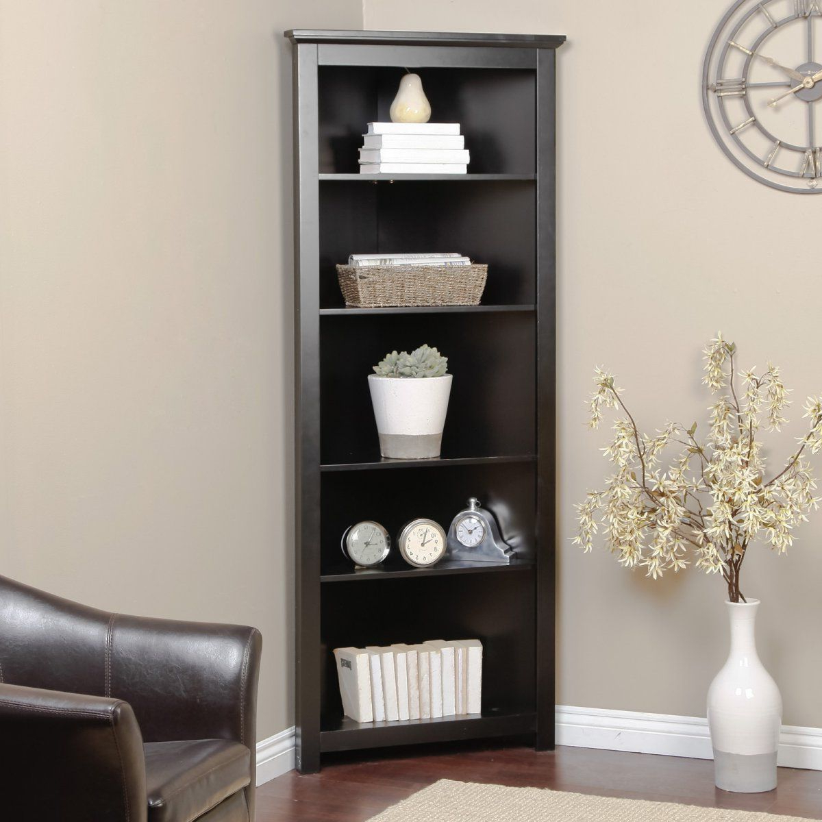 Redford Black Corner Bookcase – Corner Bookcases At Book Regarding Favorite Fuhrmann Corner Bookcases (View 19 of 20)