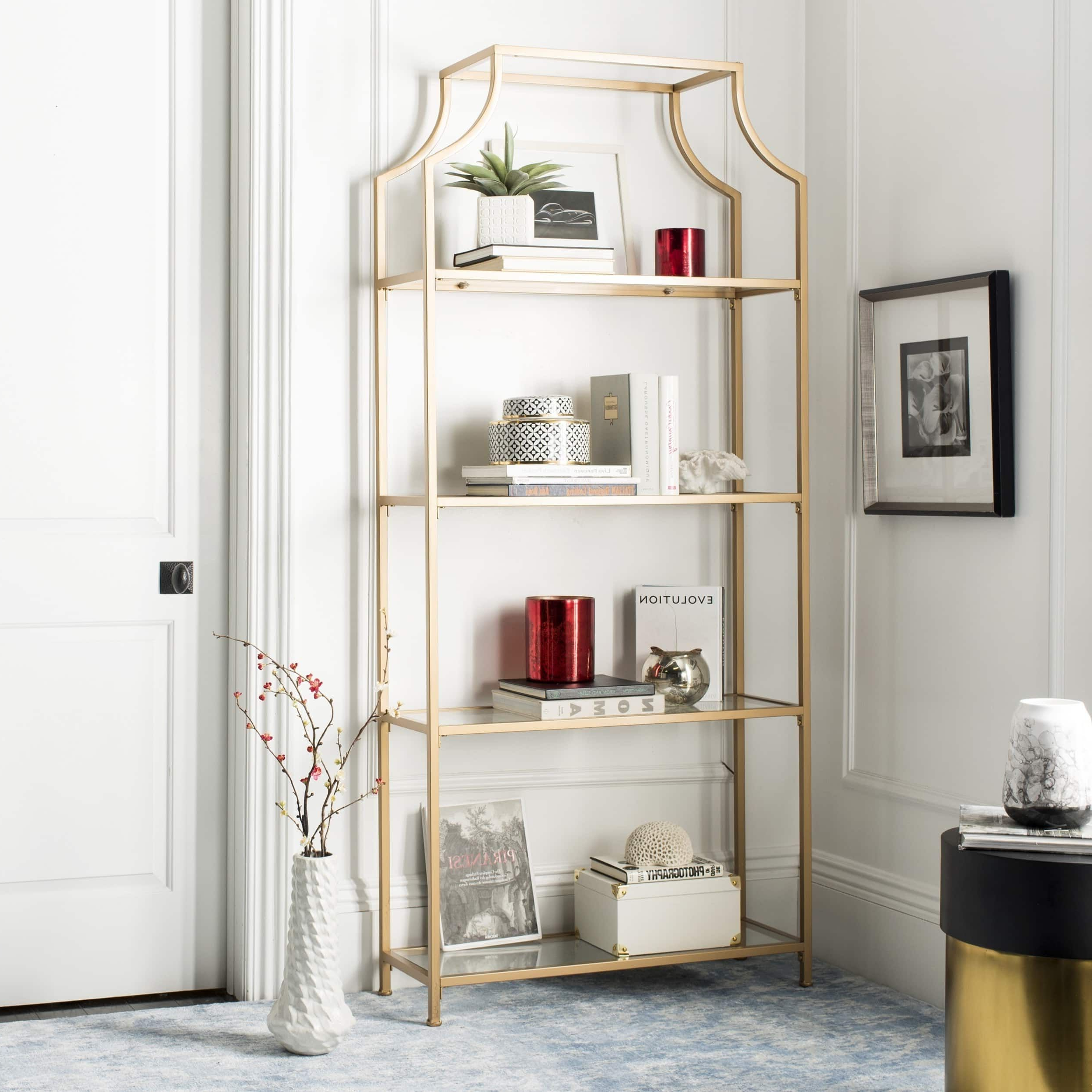 "Safavieh Slater 4 Tier Gold Etagere – 36"" X 12"" X 80"" In Throughout 2019 Aptos Etagere Bookcases (View 14 of 20)"
