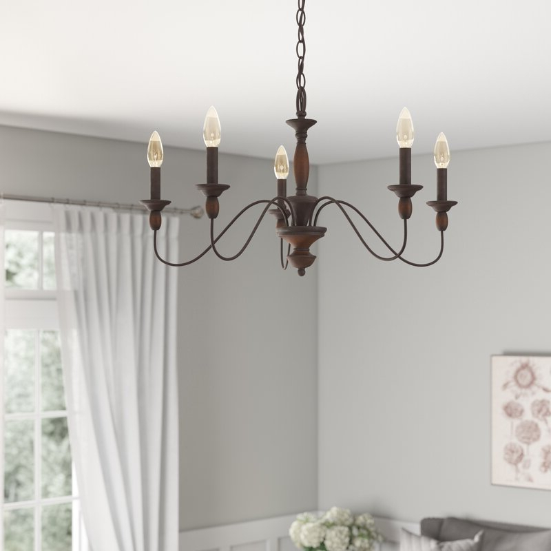 Sarah 5 Light Candle Style Chandelier Pertaining To Widely Used Shaylee 5 Light Candle Style Chandeliers (View 16 of 25)