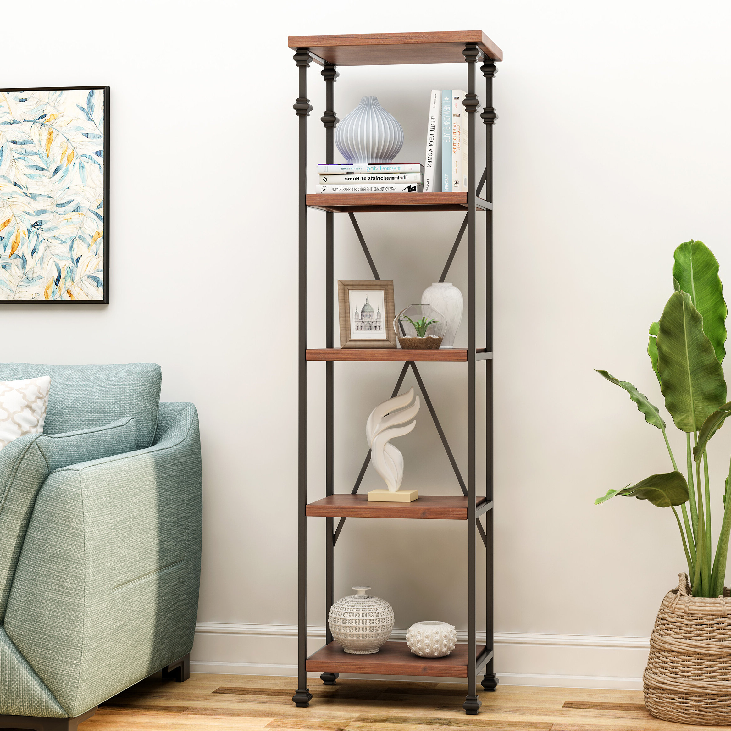 Sarina 4 Shelf Etagere Bookcase Pertaining To Most Up To Date Aptos Etagere Bookcases (View 11 of 20)