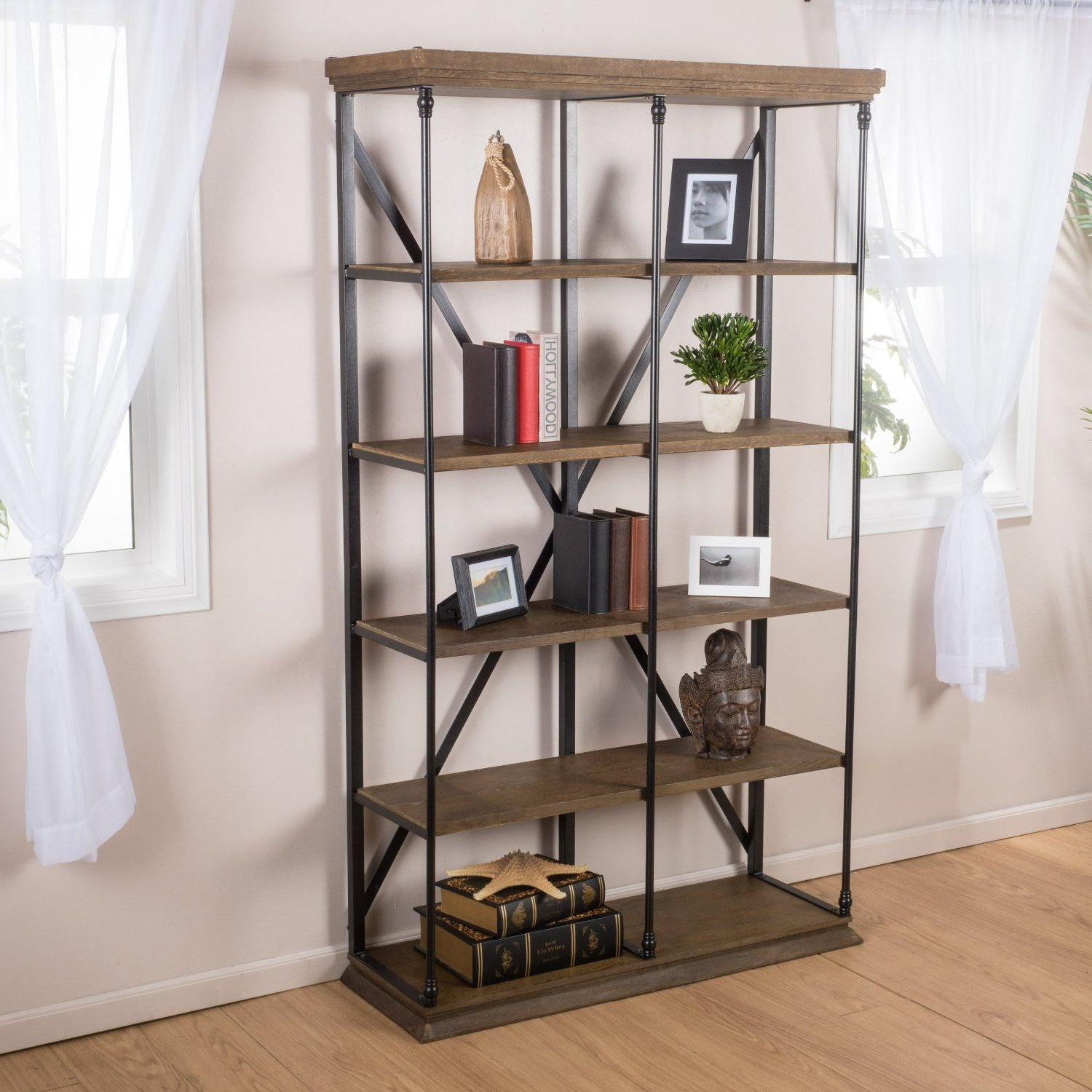 Saskia Etagere Bookcases Intended For Well Known Amazon: Alondra 5 Shelf Industrial Dark Khaki Wood (View 13 of 20)