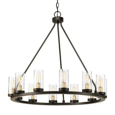 Shayla 12 Light Wagon Wheel Chandeliers In Most Recent Wagon Wheel – Chandeliers – Lighting – The Home Depot (View 17 of 25)