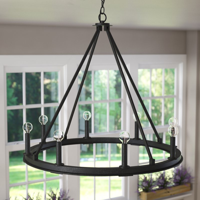 Shayla 8 Light Wagon Wheel Chandelier Regarding Fashionable Shayla 12 Light Wagon Wheel Chandeliers (Gallery 3 of 25)