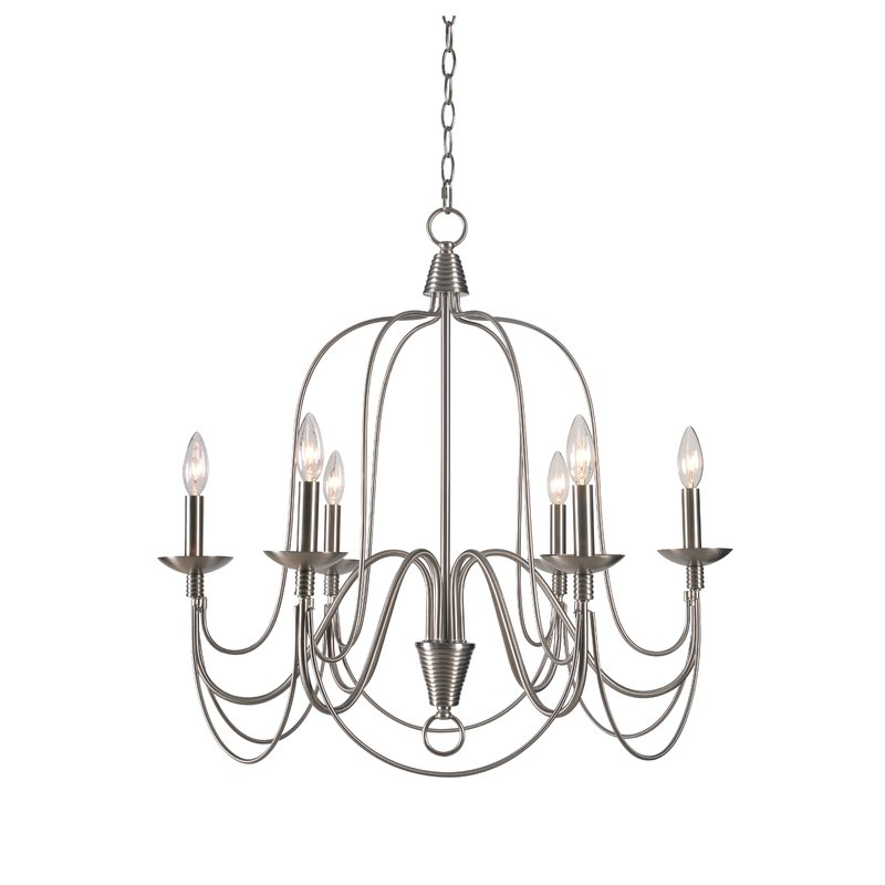 Shaylee 6 Light Candle Style Chandeliers Pertaining To Current Kollman 6 Light Candle Style Chandelier (View 19 of 25)
