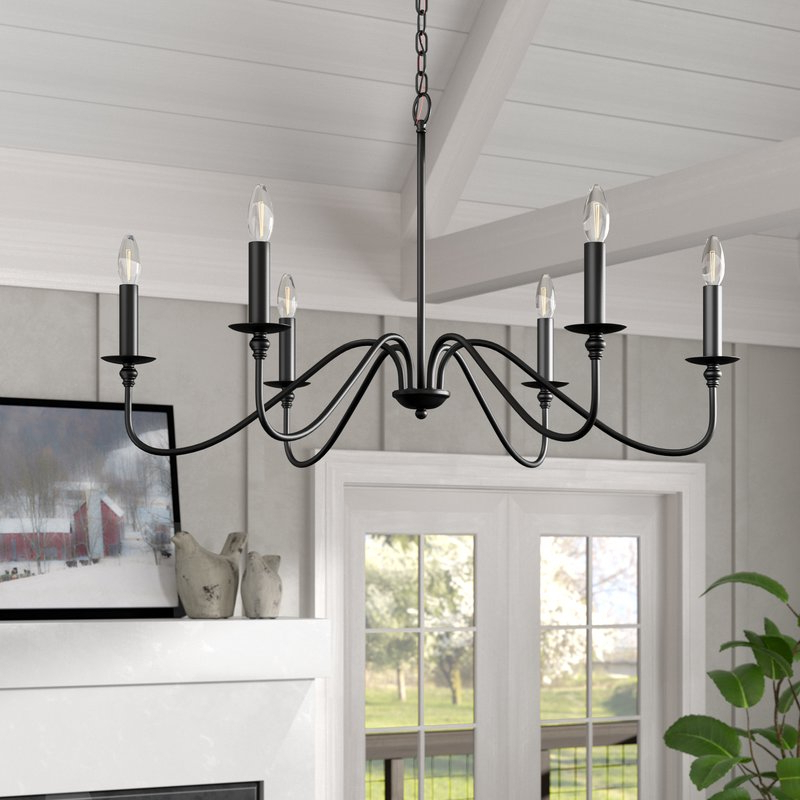 Shaylee 6 Light Candle Style Chandeliers Within Popular Hamza 6 Light Candle Style Chandelier (View 11 of 25)