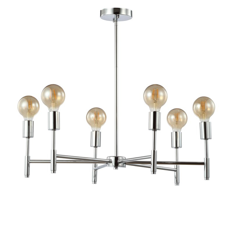 Sherri 6 Light Chandeliers Regarding Recent Cushing Adjustable Height Metal 6 Light Sputnik Chandelier (View 5 of 25)
