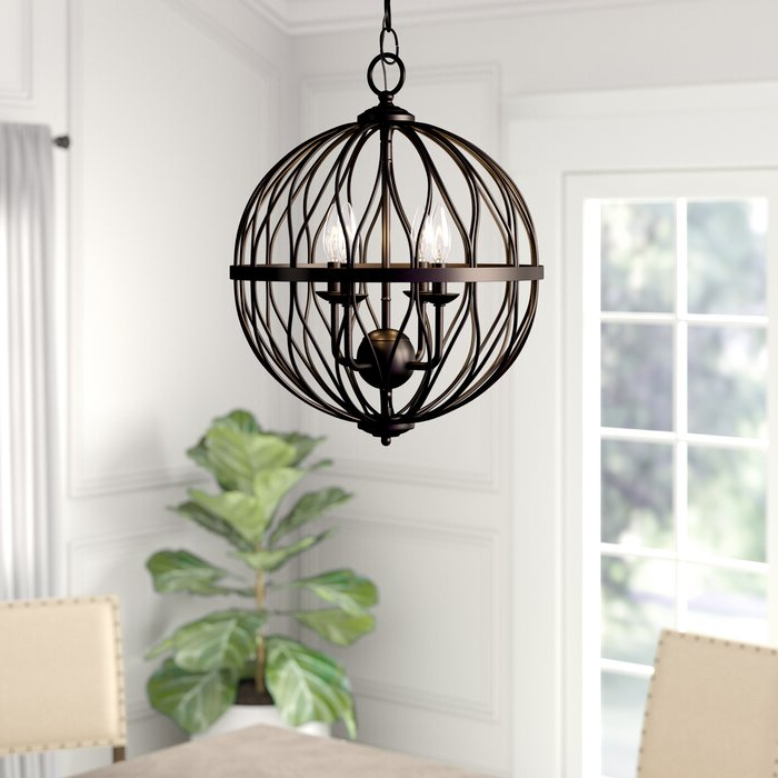 Shipststour 3 Light Globe Chandeliers For Widely Used Brittain 3 Light Globe Chandelier (Gallery 4 of 25)
