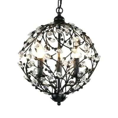 Shipststour 3 Light Globe Chandeliers Within Fashionable 3 Light Globe Chandelier Antique Bronze Wrought Iron Cage (Gallery 18 of 25)