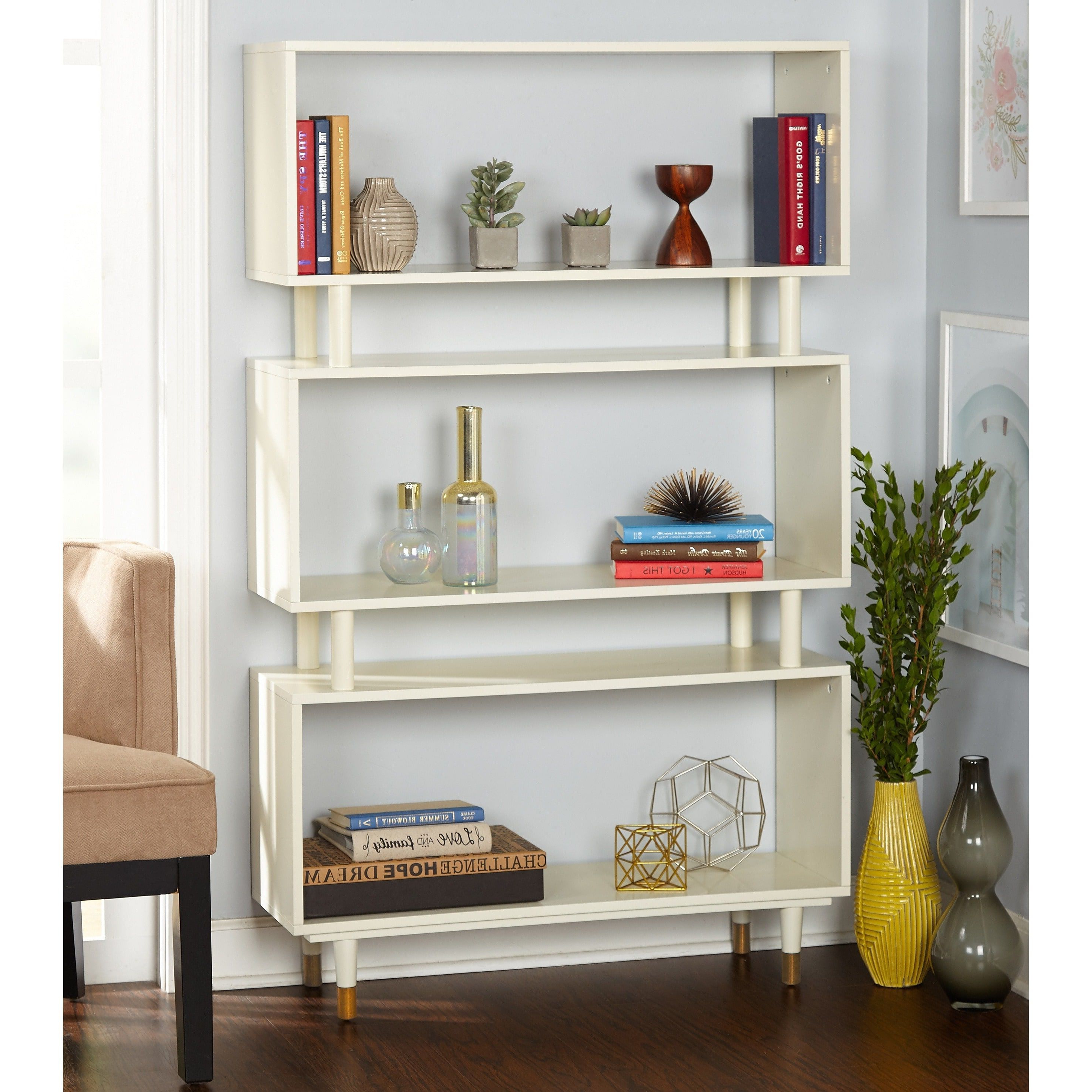 Simple Living Margo Mid Century 3 Shelf Bookshelf – 59.5H X With Regard To Most Current Morrell Standard Bookcases (Gallery 18 of 20)