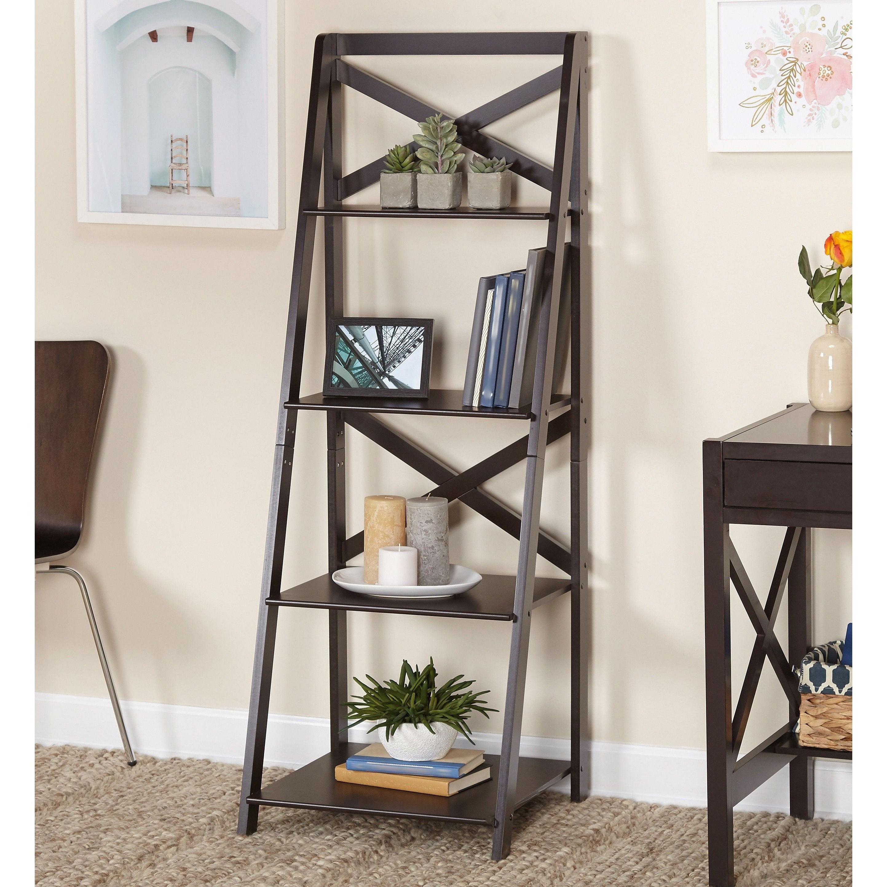 Simple Living X 4 Tier Shelf In Espresso (X Shelf), Brown For Most Up To Date Kaitlyn Ladder Bookcases (Gallery 11 of 20)