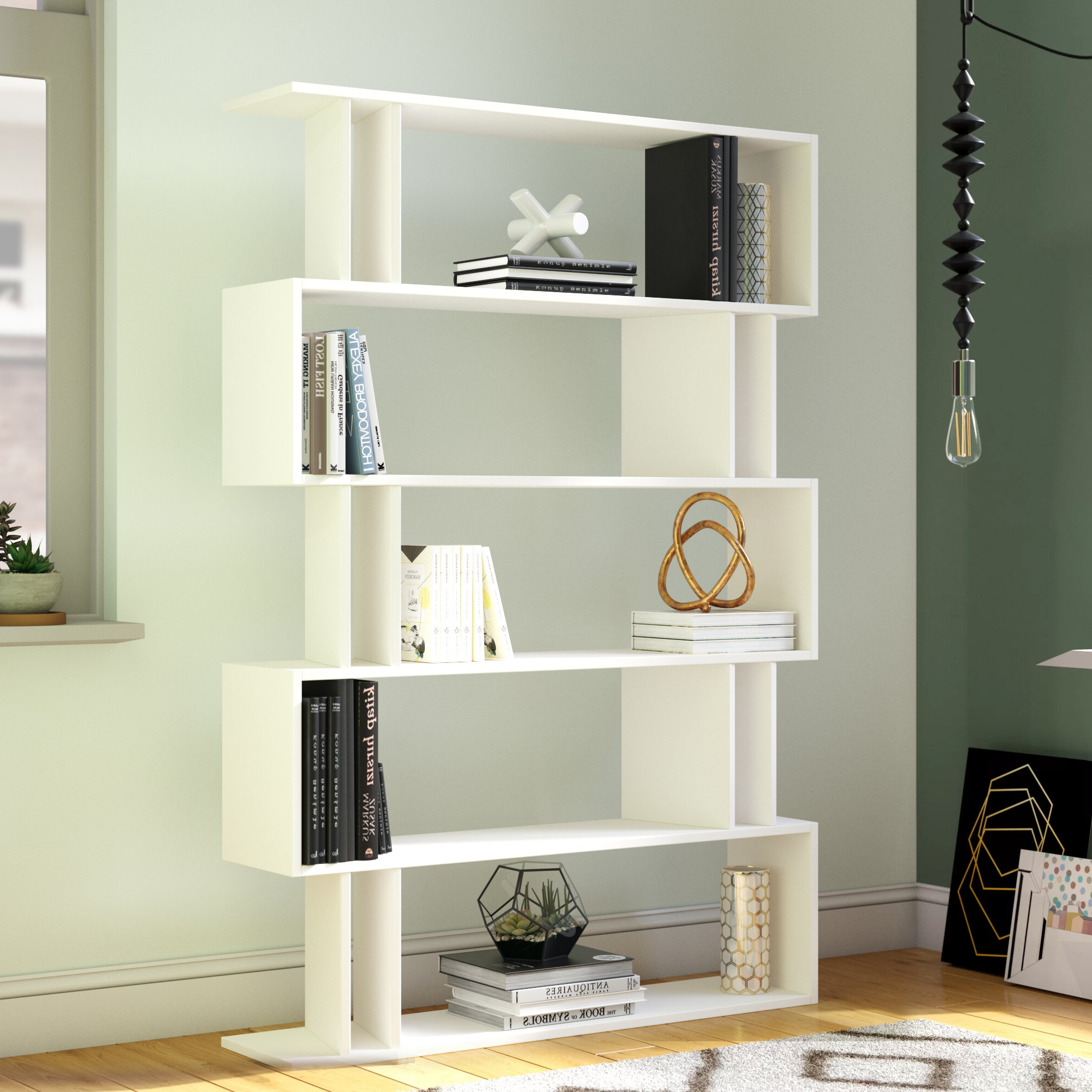 Skaggs Geometric Bookcases For Most Popular Ezra Modern Geometric Bookcase (View 12 of 20)