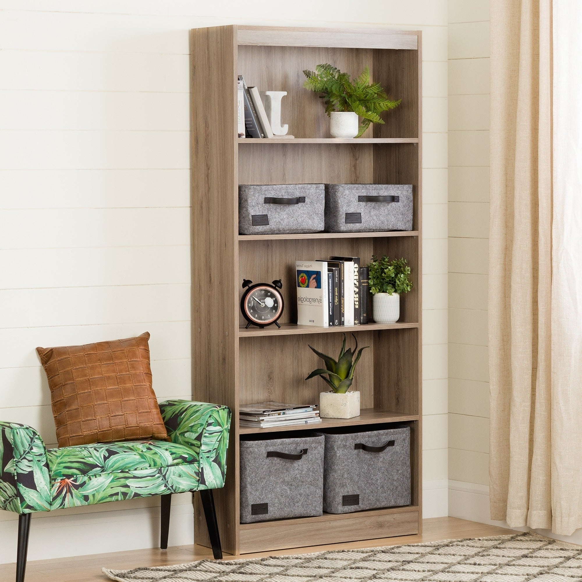 South Shore Furniture Wood 5 Shelf Bookcase Throughout Most Up To Date Axess Standard Bookcases (Gallery 12 of 20)