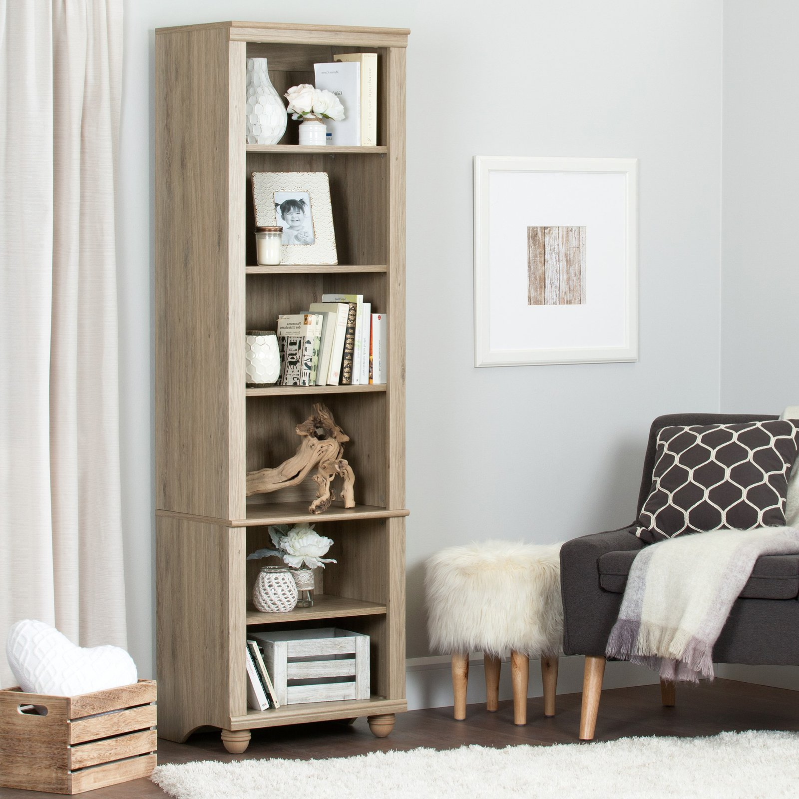 South Shore Hopedale Narrow 6 Shelf Bookcase In 2019 Intended For Popular Pinellas Tall Standard Bookcases (View 15 of 20)