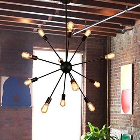 Sputnik Chandeliers 12 Lights Black Pendant Lighting Ceiling Mount Light  Fixture, Ul Listed For Current Asher 12 Light Sputnik Chandeliers (View 19 of 25)