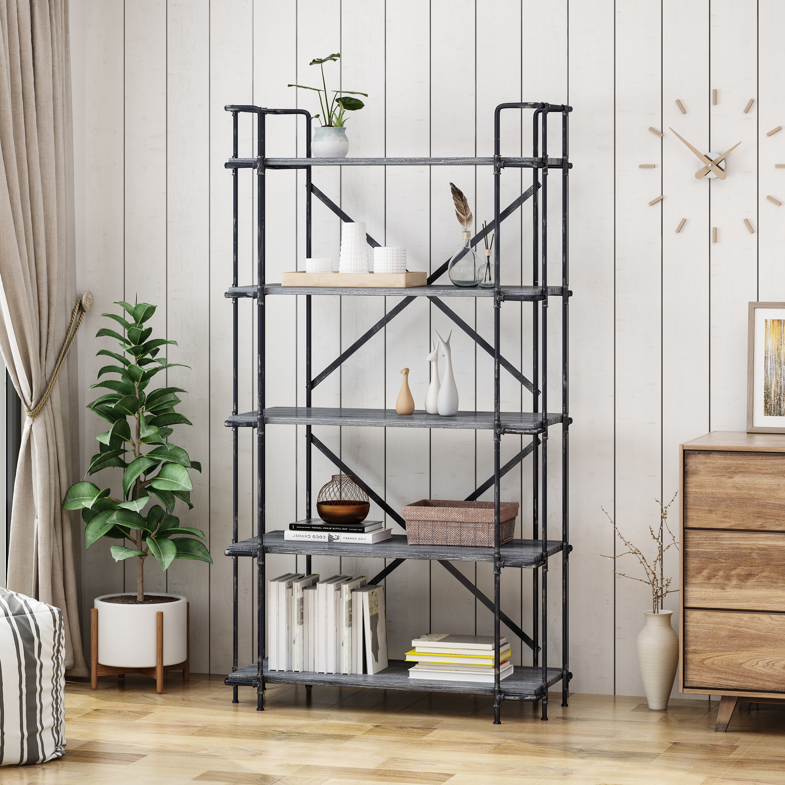 Staple Hill Bookcases Throughout Widely Used Bostick 5 Tier Etagere Bookcase (Gallery 13 of 20)
