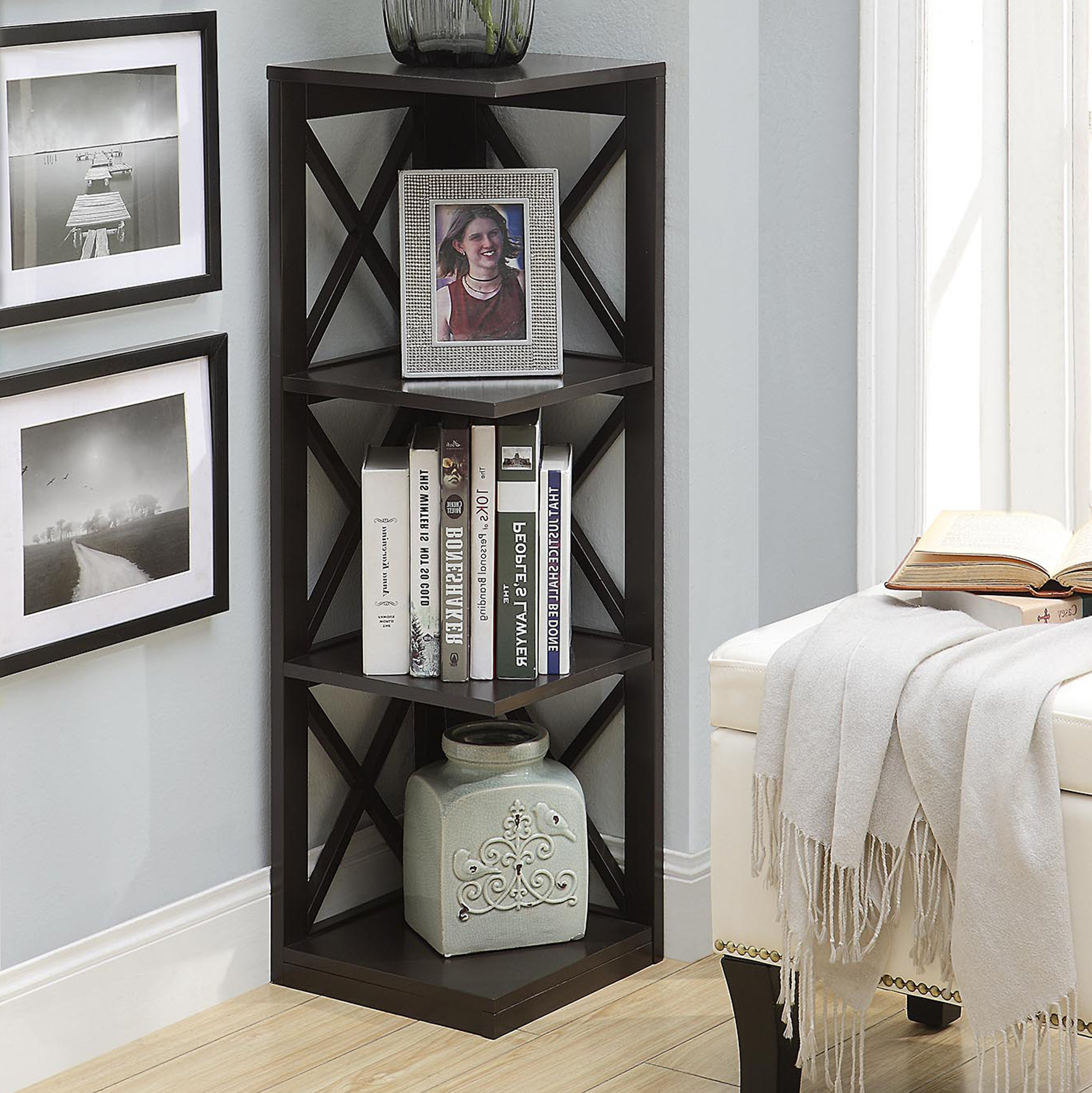 Stoneford Corner Bookcases Intended For Trendy Beachcrest Home Stoneford Corner Bookcase (Gallery 10 of 20)