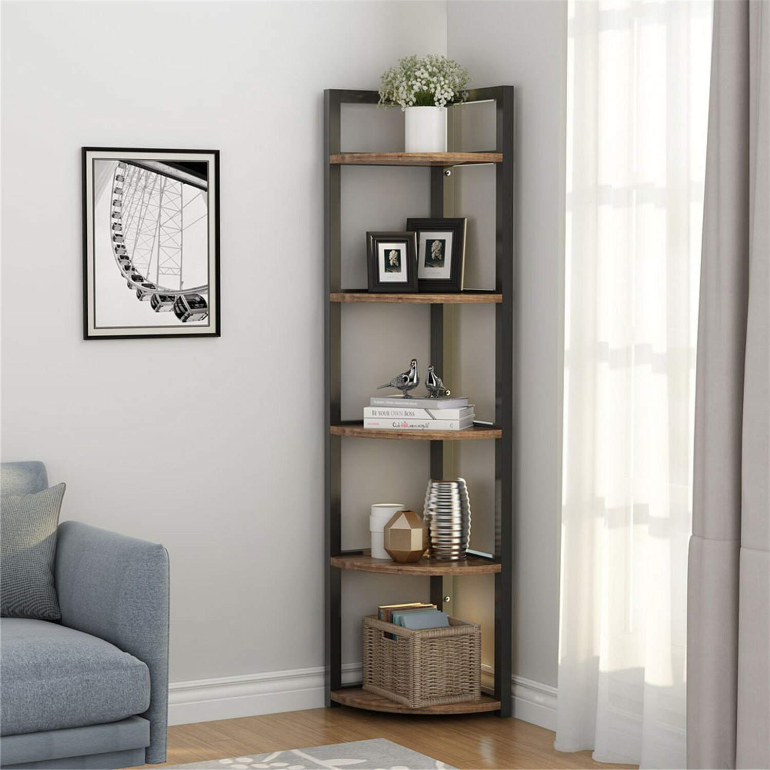 Summerall 5 Tier Corner Bookcase With Favorite Hattie Corner Bookcases (View 2 of 20)