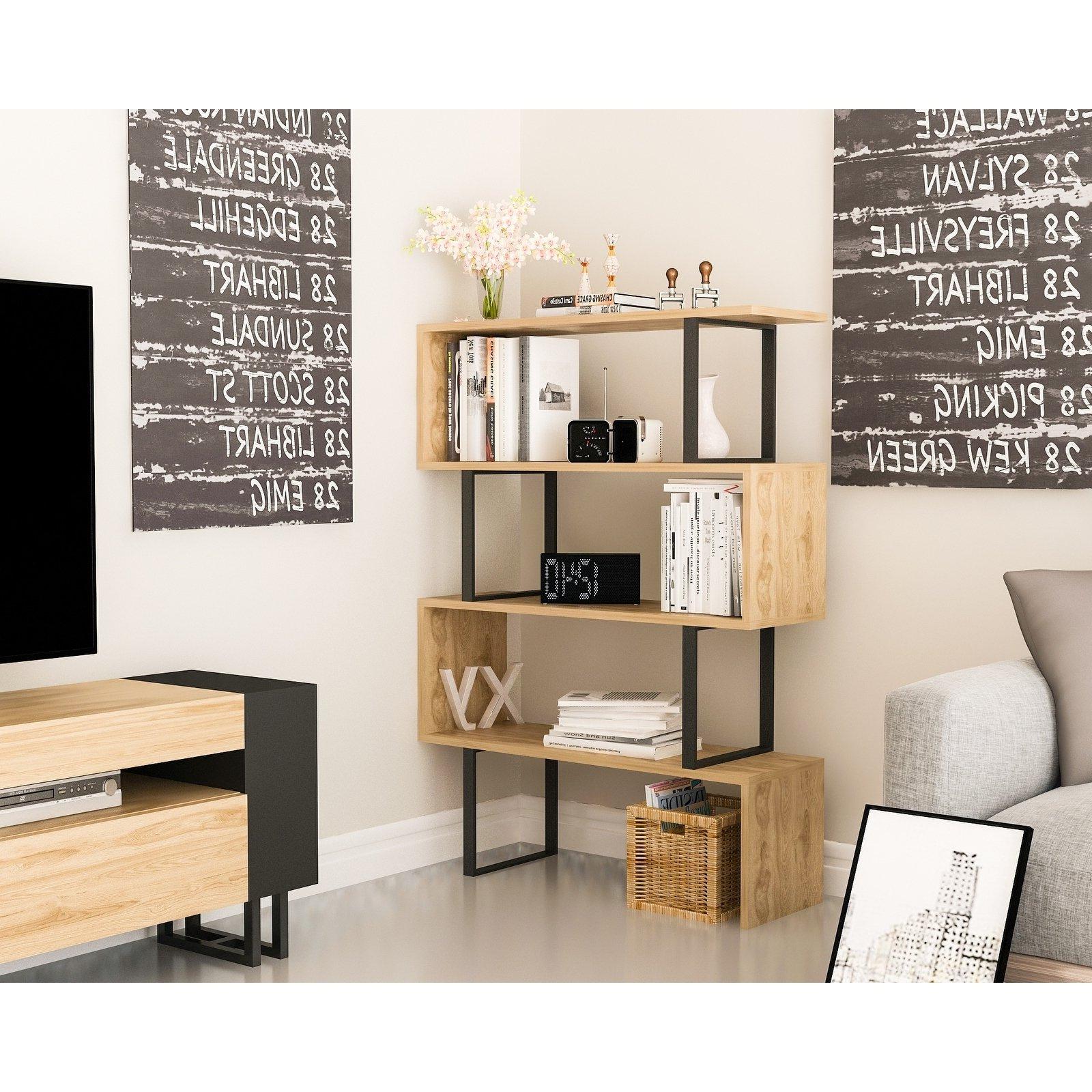 Swarey Geometric Bookcases Within Latest Decorotika Adriana 4 Tier Geometric Modern Industrial (View 11 of 20)