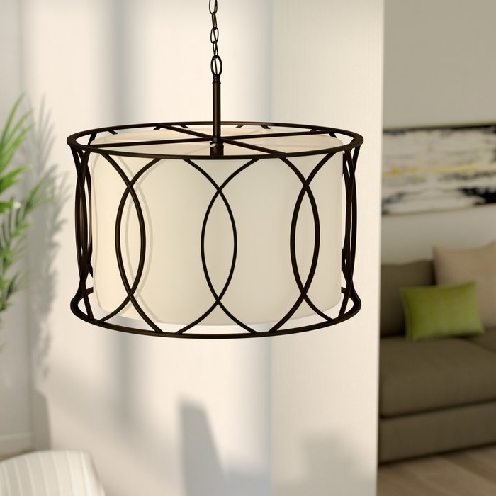 Featured Photo of Tadwick 3 Light Single Drum Chandeliers