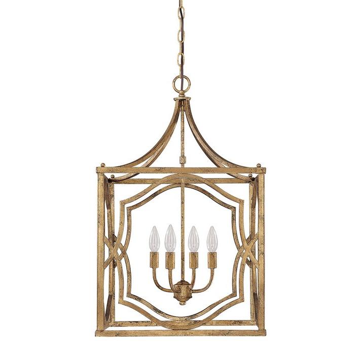 Taya 4 Light Lantern Square Pendants For Recent Destrey 4 Light Lantern Square / Rectangle Pendant (View 11 of 25)