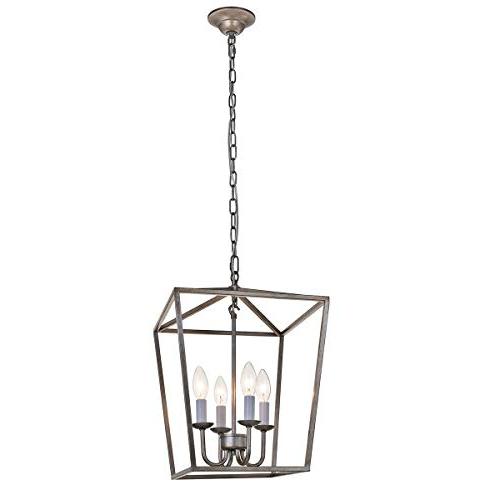 Taya 4 Light Lantern Square Pendants Pertaining To Trendy Lantern Pendant Light: Amazon (View 17 of 25)