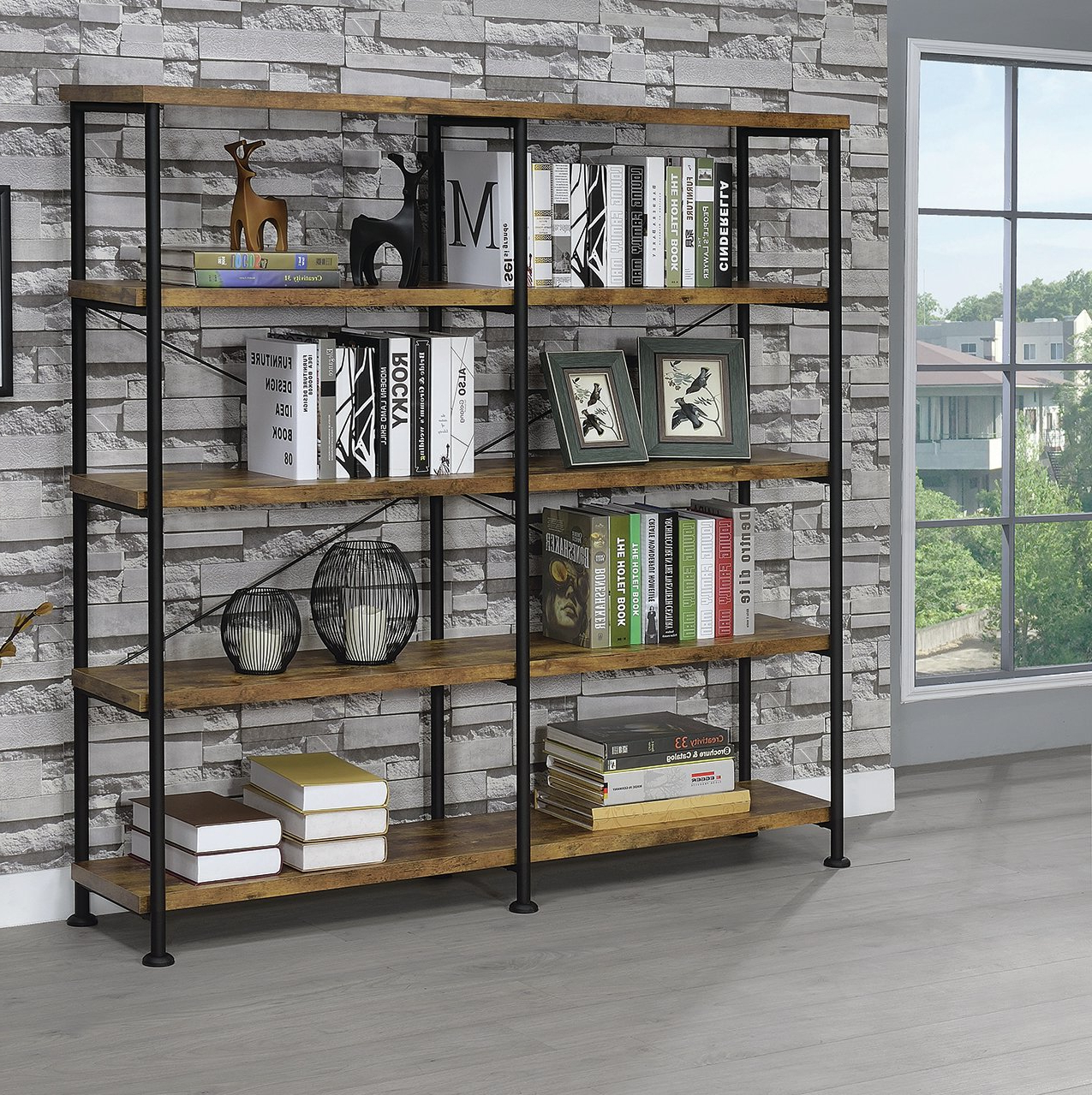 Thea Blondelle Library Bookcase With Most Up To Date Cifuentes Dual Etagere Bookcases (View 5 of 20)