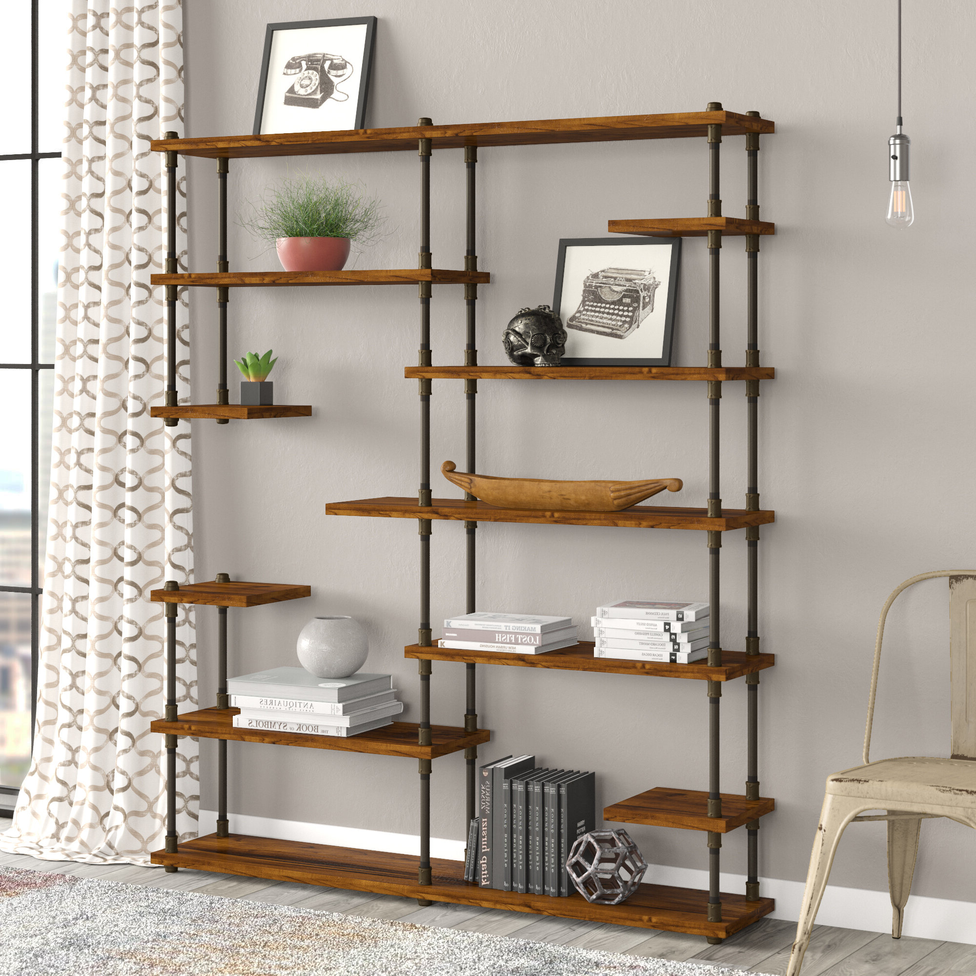 Thea Blondelle Library Bookcases With Recent Cirillo Industrial Mid Century Library Bookcase (View 19 of 20)