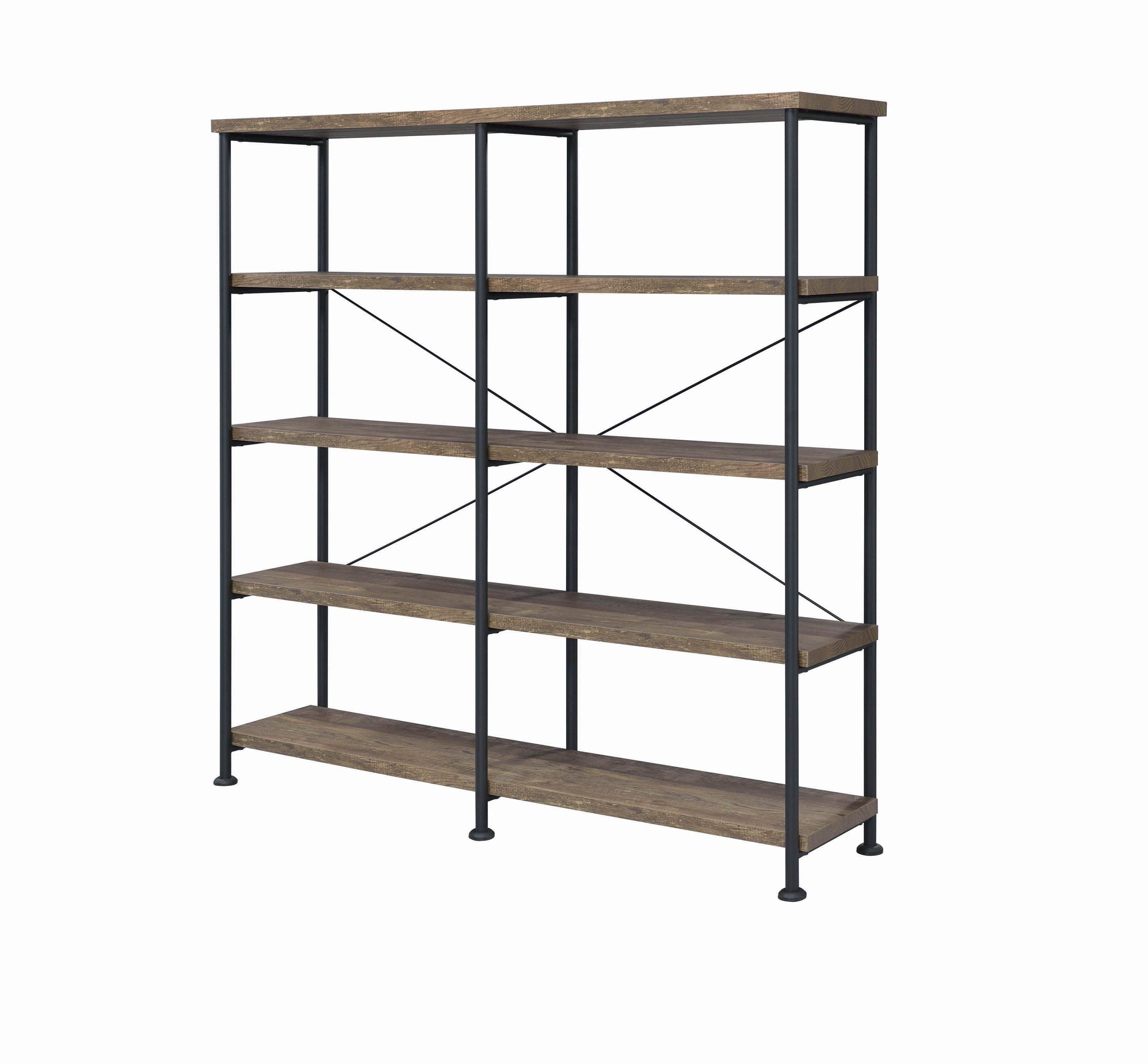 Thea Blondelle Library Bookcases With Regard To Trendy Analiese 4 Tier Bookcase Rustic Oak And Black – Coaster Fine (View 10 of 20)