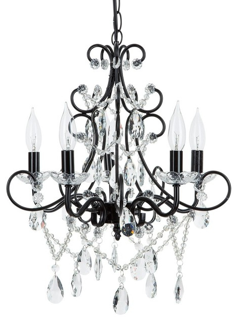 Thresa 5 Light Shaded Chandeliers With Regard To Most Recent Theresa 5 Light Wrought Iron Crystal Chandelier, Black (View 3 of 25)
