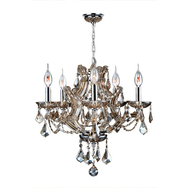 Thresa 5 Light Shaded Chandeliers Within Most Recently Released Maria Theresa 5 Light Golden Teak Crystal Glam Chandelier Medium 19 In. W X 18 In (View 9 of 25)