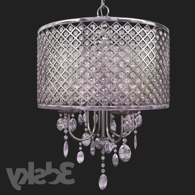 Trendy 3D Models: Ceiling Light – Suspension Aurore 4 Light Led Pertaining To Aurore 4 Light Crystal Chandeliers (View 23 of 25)