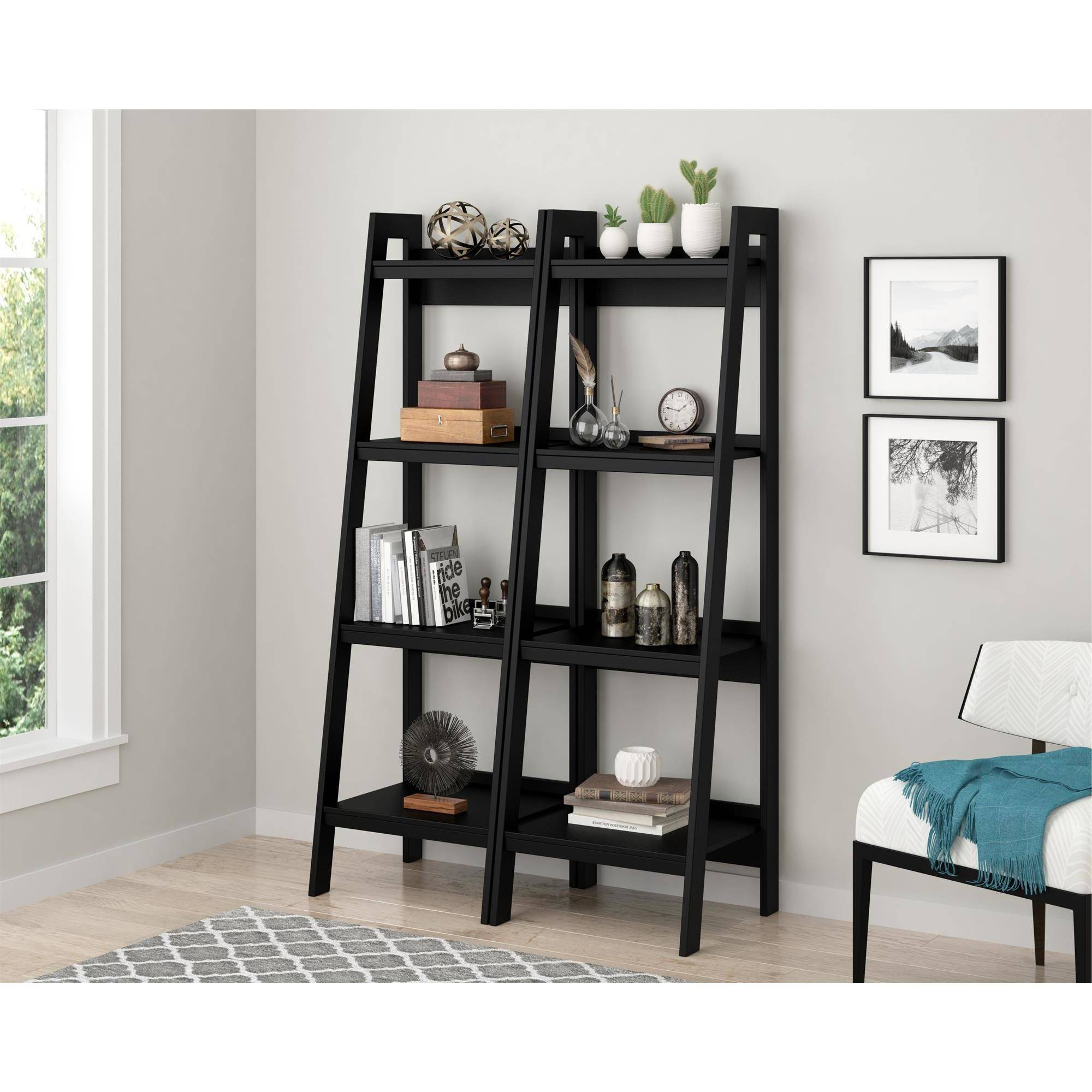 Trendy Ameriwood Home Hayes 4 Shelf Ladder Bookcase Bundle, Black (set Of 2) Throughout Kit Bookcases (View 10 of 20)