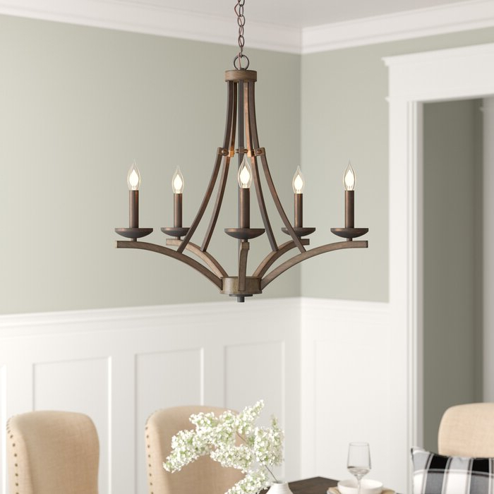 Trendy Berger 5 Light Candle Style Chandeliers Inside Wireman 5 Light Candle Style Chandelier (View 23 of 25)