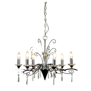 Trendy Diaz 6 Light Pendant In Chrome And Crystal In Diaz 6 Light Candle Style Chandeliers (View 24 of 25)