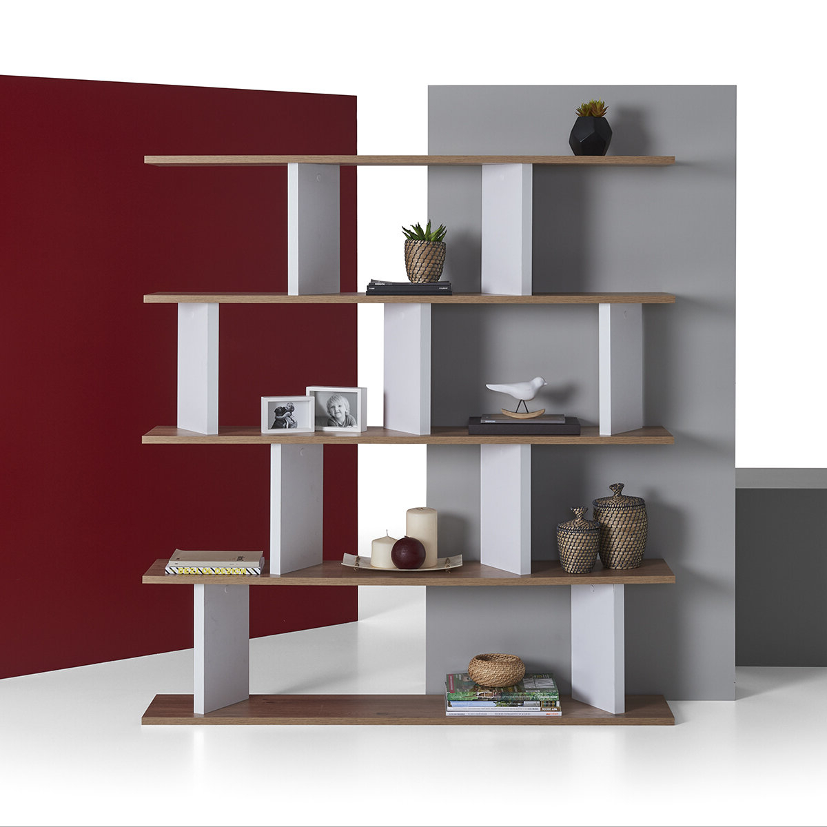 Trendy Fuson Geometric Bookcase For Carnageeragh Geometric Bookcases (View 18 of 20)