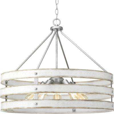 Trendy Gulliver 5 Light Galvanized Drum Pendant With Weathered White Wood Accents For Harlan 5 Light Drum Chandeliers (View 21 of 25)