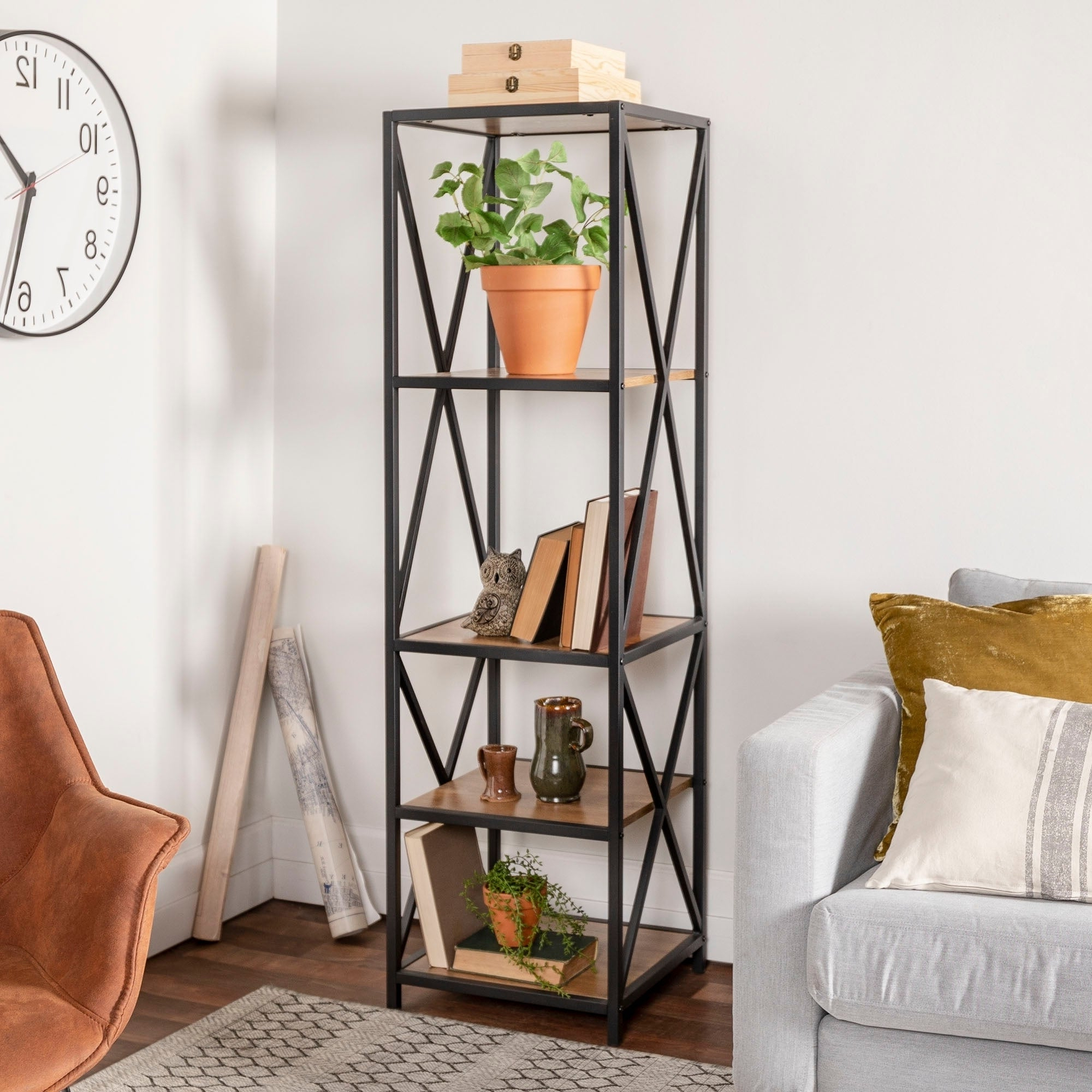 Trendy Hattie Corner Bookcases Pertaining To Carbon Loft Hattie Metal And Wood X Frame Media Bookshelf – 18 X 16 X 61h (View 12 of 20)