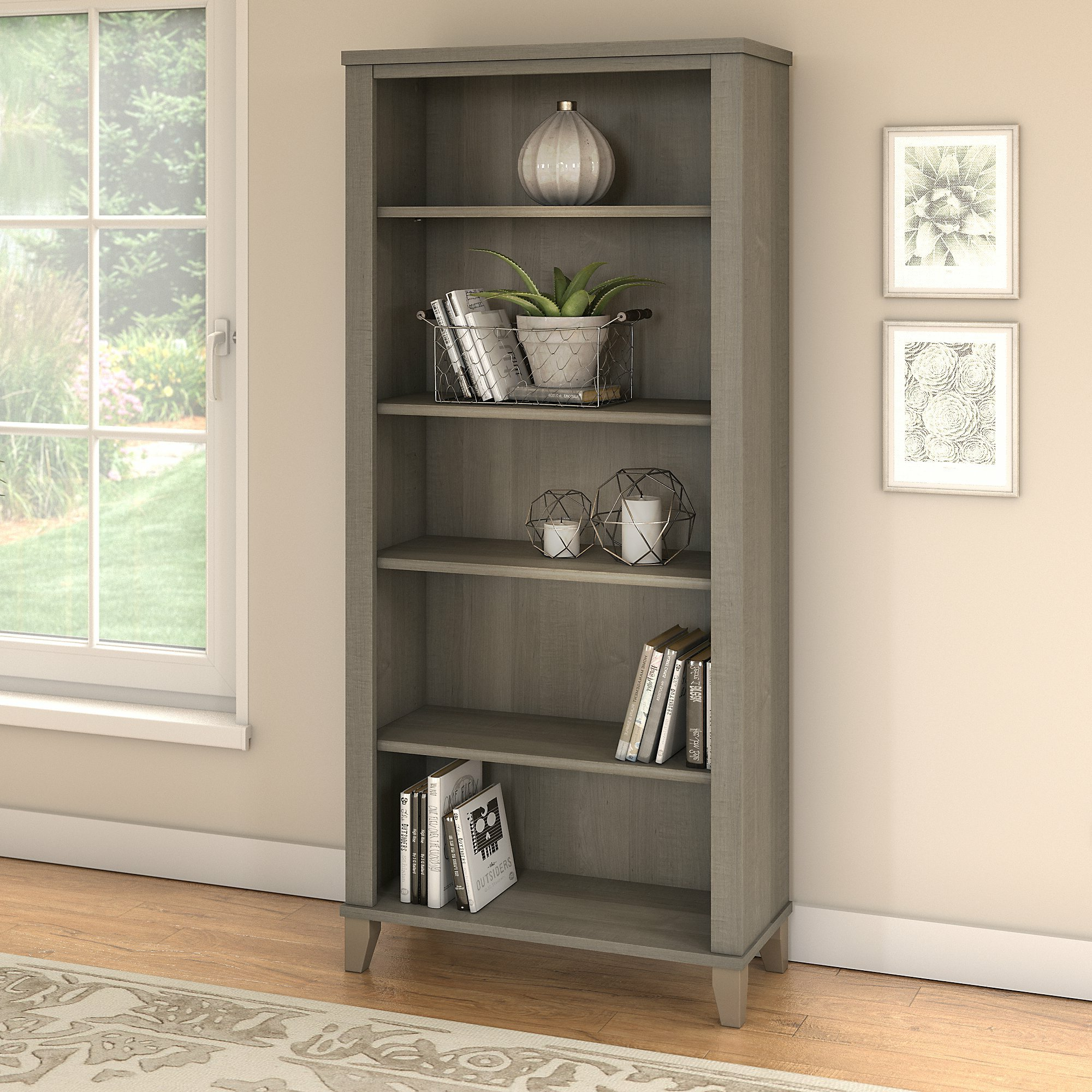 Trendy Kirchoff 5 Shelf Standard Bookcase Throughout Salina Standard Bookcases (View 13 of 20)