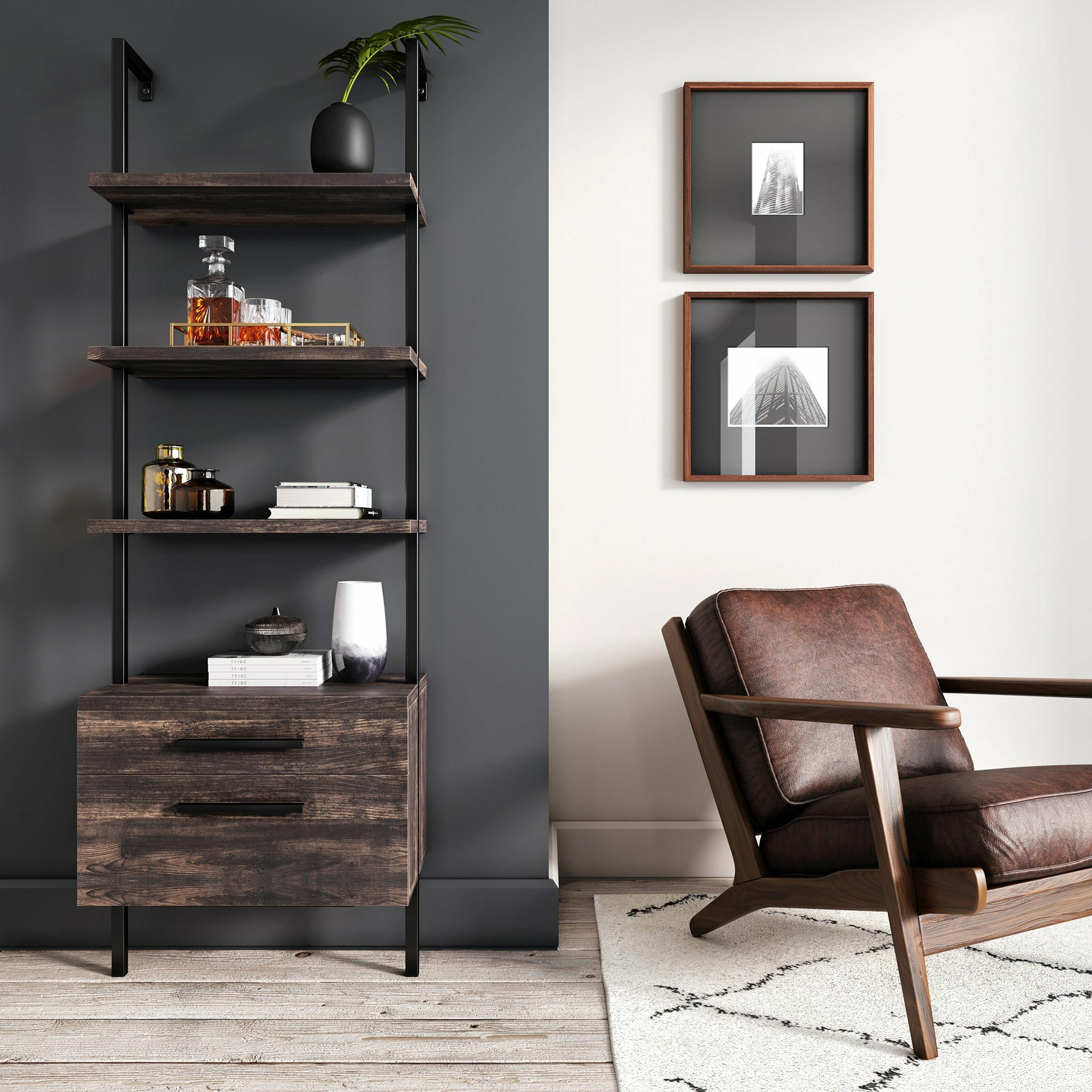 Trendy Moskowitz Open Shelf Industrial Ladder Bookcase Regarding Rupert Ladder Bookcases (View 18 of 20)