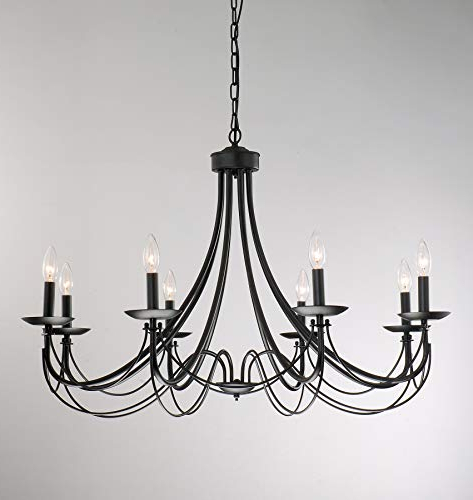 Trendy Shaylee 8 Light Candle Style Chandeliers Pertaining To Iron 8 Light Black Chandelier (View 21 of 25)