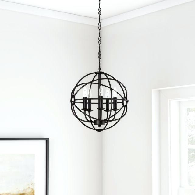 Verlene Foyer 5 Light Globe Chandeliers With Regard To Well Known Black Globe Chandelier – Cecilleseibel (View 16 of 25)