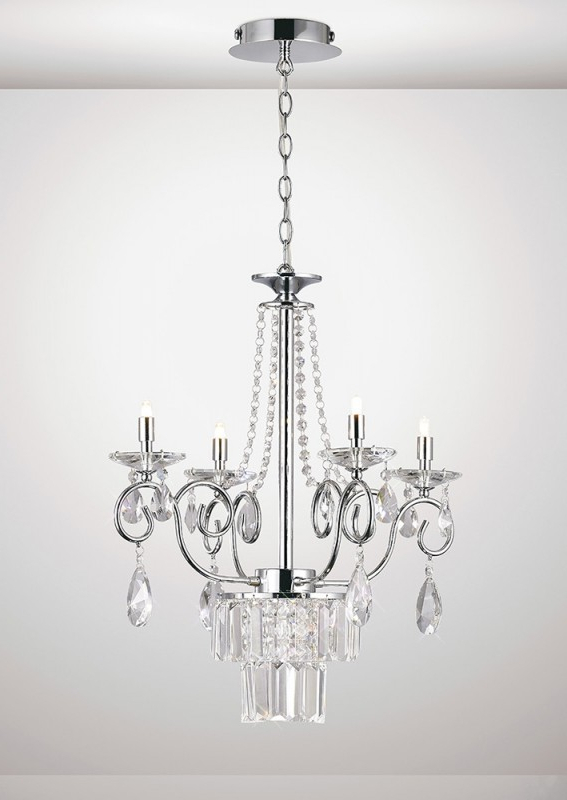Von 4 Light Crystal Chandeliers Throughout Well Known Diyas Eden Il31615 4 Light Crystal Chandelier (View 6 of 25)