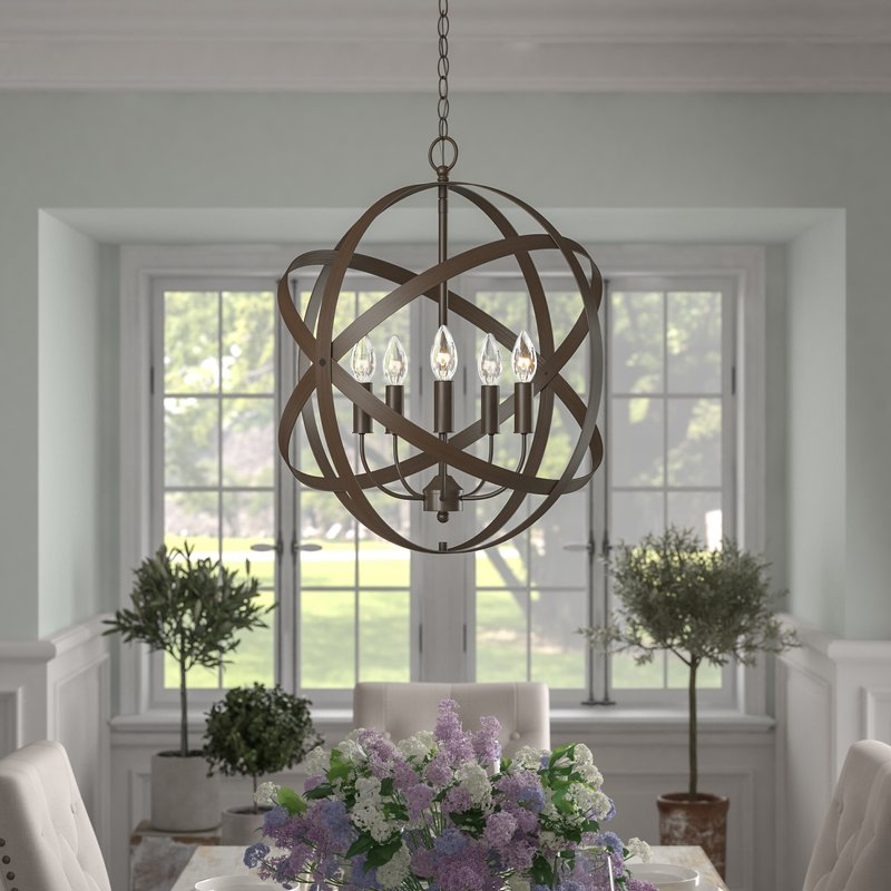 Waldron 5 Light Globe Chandeliers With Regard To Most Current Della 5 Light Globe Chandelier (View 25 of 25)