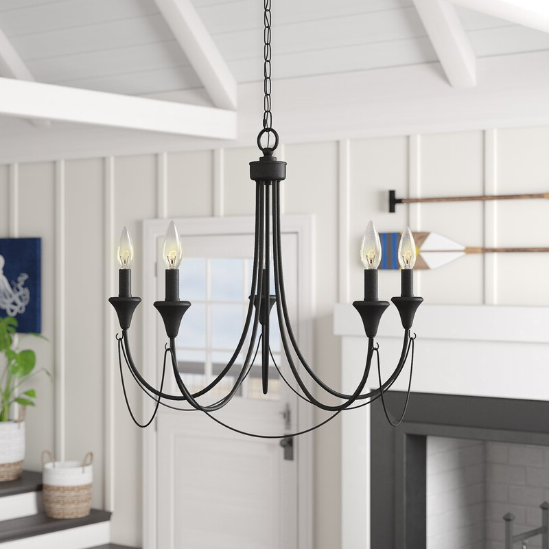 Watford 6 Light Candle Style Chandeliers Within Most Up To Date Walczak 5 Light Candle Style Chandelier (View 9 of 25)